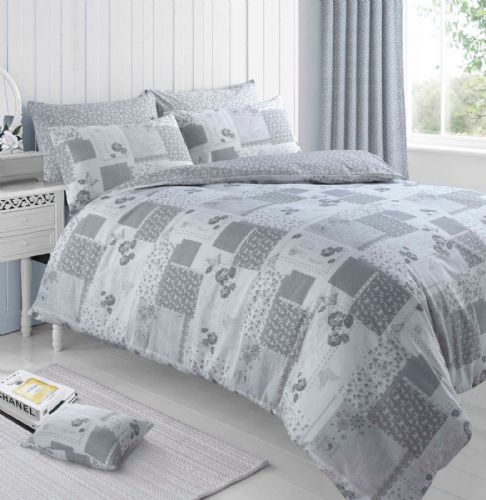 Grey Floral Butterfly Chic Patchwork Roman Bedding Duvet Quilt Cover Set